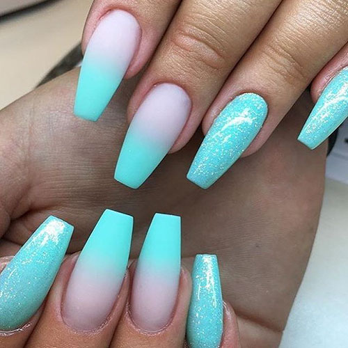 20 Amazing Teal Acrylic Nails Designs - Nail Art Designs 20