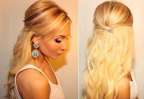Teased Half Up Half Down Hairstyle Tutorial: Easy Prom Hairstyles .