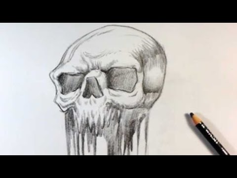Drawing a Melted Skull Tattoo Design - Skull Drawings - YouTu