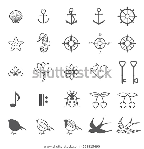 Tiny Tattoo Designs Set 3 Stock Vector (Royalty Free) 3688154