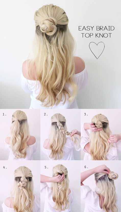 Hair Tutorial | VERY Easy Summer Braided Top Knot | Grace and .