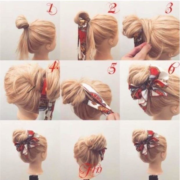 40+ Everyday Hair Updo Tutorials For Summer : 80s Style Scarf Tied .