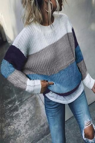 Women's Casual Round Neck Shoulder Sleeve Coloring Sweater .