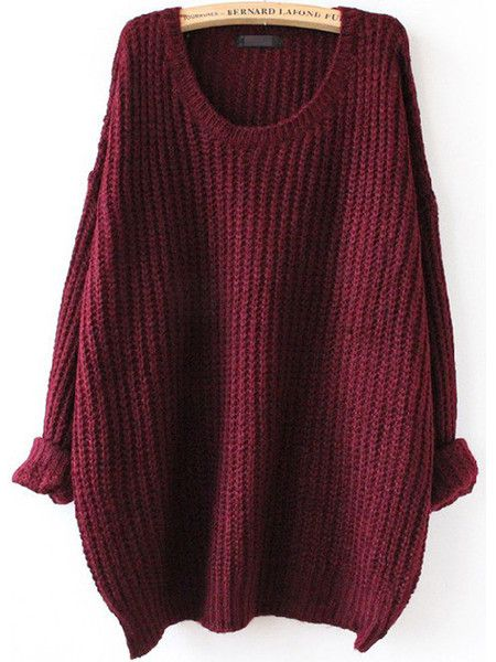 Sweater Fall Winter Fashion Red Loose Knit Sweater | Oversized .