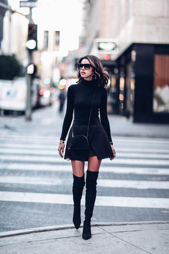 10+ Ways to Wear Over-the-Knee Boots | Chic black outfits, Fashion .