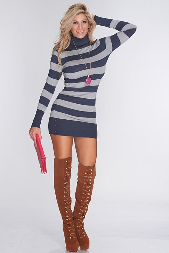 Navy Grey Striped Sexy Sweater Dress @ Amiclubwear Clothing,sexy .
