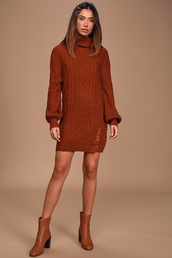 Cozy Rust Red Sweater Dress - Turtleneck Dress - Cable Knit Dre