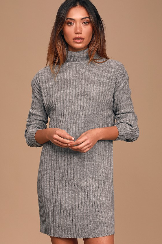 Cozy Heather Grey Sweater Dress - Turtleneck Sweater Dre