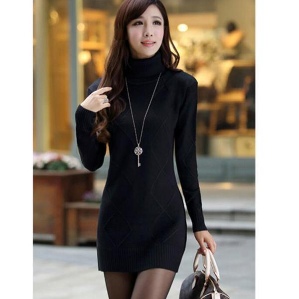 Women Turtleneck Sweater Dress New Autumn Winter Slim Pullovers .