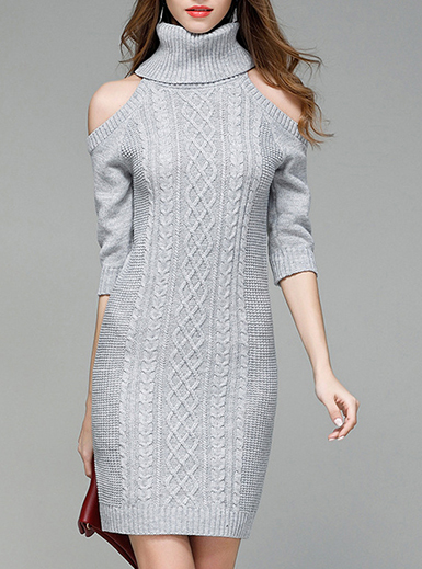 Women's Oversized Turtleneck Sweater Dress - Cold Shoulder / Mid .