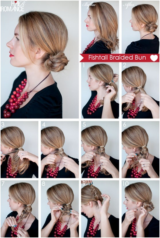 How to Fishtail Braided Bun Hairstyle: Everyday Hairstyles .