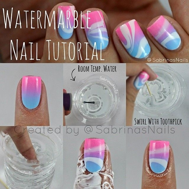 Watermarble Nail Tutorial (With images) | Marble nails tutorial .