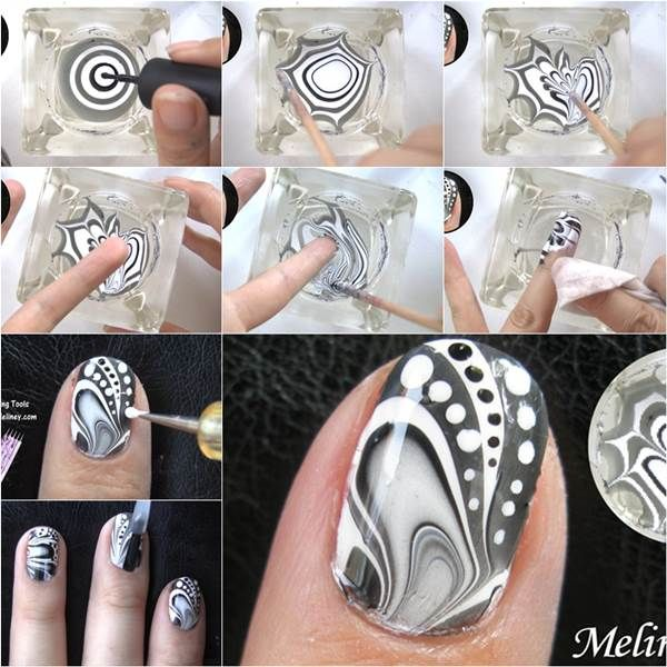 How to Make Amazing Water Marble Nail Art DIY Tutorial | Unghie .