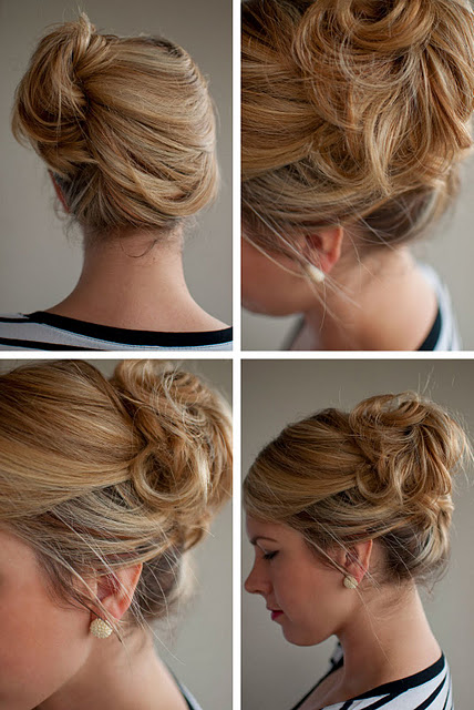 Simple Easy Updo for Summer: Loose Side French Twist Updo .