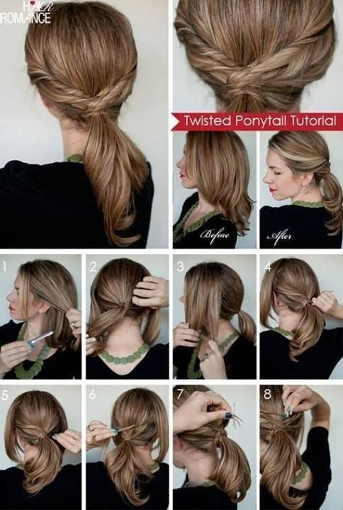 Twisted ponytail step by step | Twist ponytail, Twist braid .