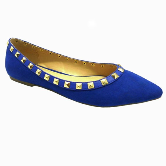 Wild Diva Lounge Shoes | Womens Suede Studded Pointy Toe Ballerina .