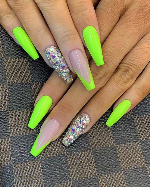 43 Neon Nail Designs That Are Perfect for Summer | Neon green .
