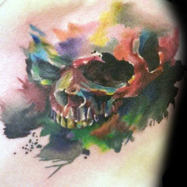 40 Watercolor Skull Tattoo Designs For Men - Colorful Ink Ide