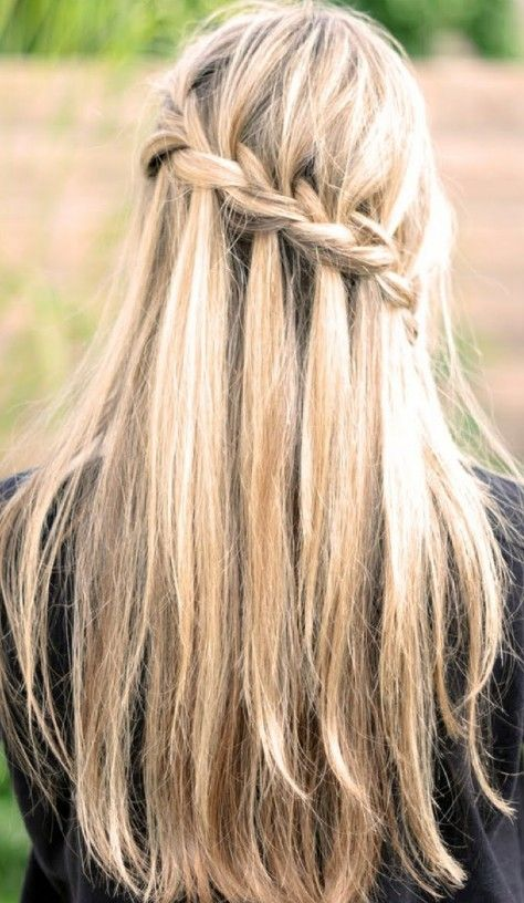 Waterfall Braid for Long Straight Hair - Back View | Long hair .
