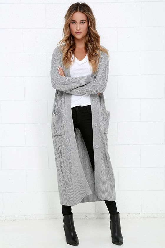 At Great Length Grey Long Cardigan Sweater | Grey sweater outfit .
