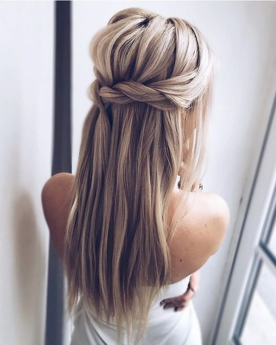 Wedding hairstyles up half up down straight with braid/ Wedding .