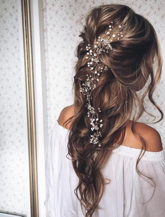 Bridal Hair Vine Bridal Crystal Wreath Long Hair Vine Hair .