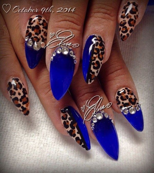 30 DARK BLUE NAIL ART DESIGNS | Nail art rhinestones, Cheetah nail .
