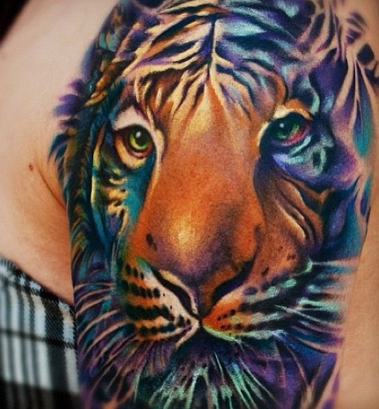 18+ Best Colorful Tiger Tattoos & Design With Meanin