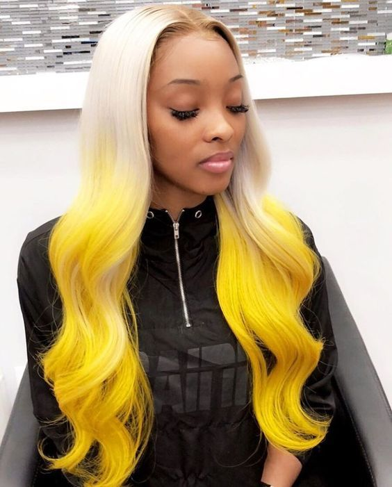 13*6 Lace Frontal Synthetic Wigs Platinum Blonde with Yellow Ombre .