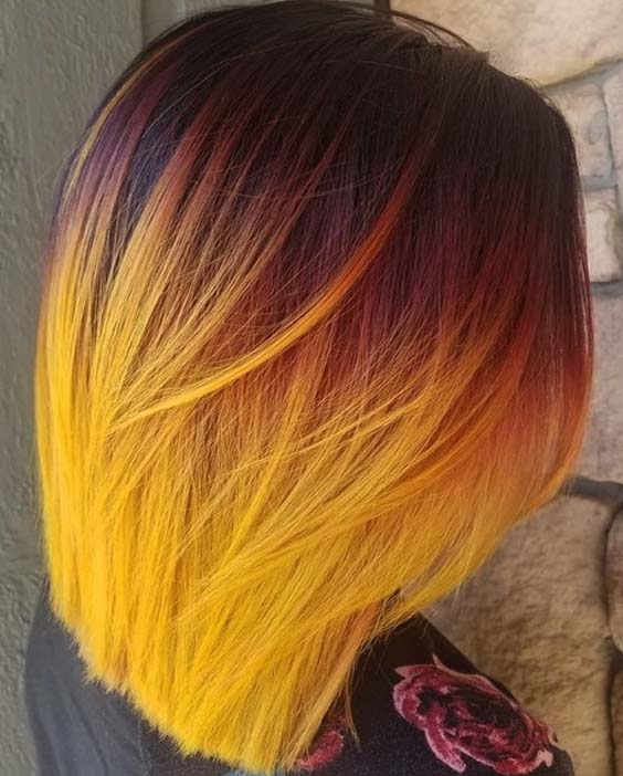 Creative Sunset Yellow Hair Colors With Bob Style Hairs | Absurd .