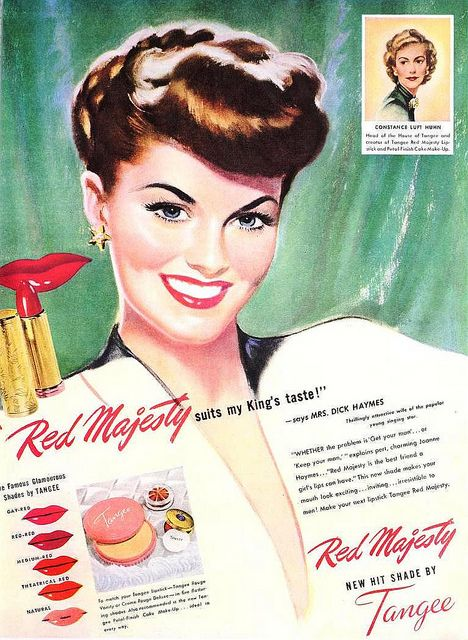 Tangee Lipstick ad, May 1947. vintage #1940s #makeup #beauty .