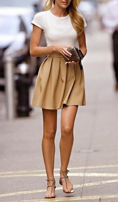 Amazing Spring Outfit Ideas With Beige Mini Skirt | Fashion, Style .