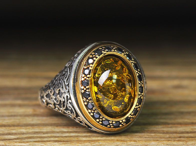 925 K Sterling Silver Man Ring Yellow Amber 10,75 US Size B23 .
