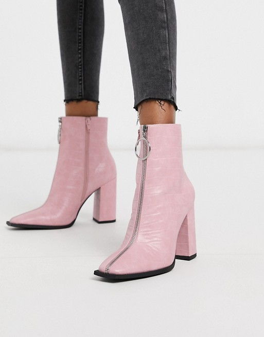 Public Desire Payback ankle boot with zip detail in pink | AS