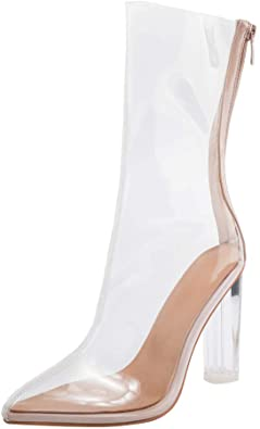 Amazon.com | ARQA Womens Transparent Ankle Boots Chunky High Heel .