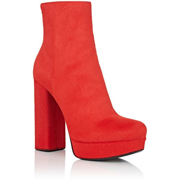 Prada Women's Calf Hair Platform Ankle Boots ($1,650) ❤ liked on .