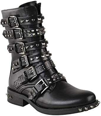 Amazon.com | Fashion Thirsty Womens Studded Ankle Boots Buckle .