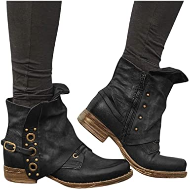 Amazon.com: Dainzuy Women PU Leather Zipper Ankle Boots Waterproof .