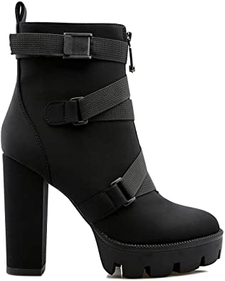 Amazon.com | EUYZOU Women's Fashion Buckle Strap Platform Ankle .