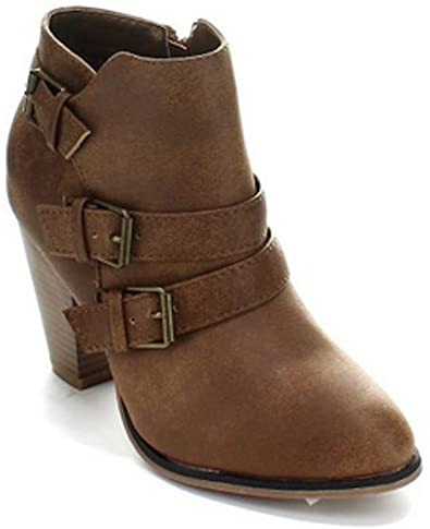 Amazon.com | Women's Faux Leather Stacked Chunk Heel Strappy .
