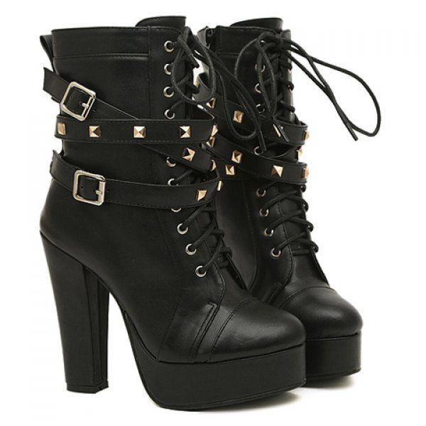 Fashion Buckles and Rivets Design Women's Chunky Heel Short Boots .