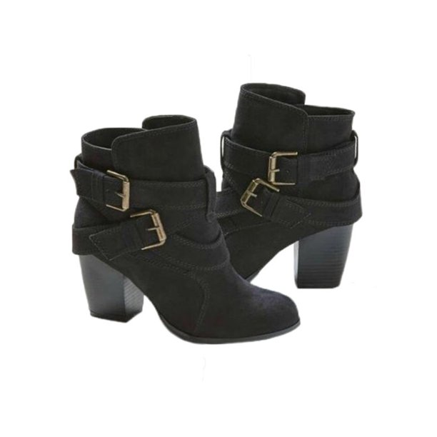 Wodstyle - Women's Block High Heel Short Ankle Boots Casual Buckle .