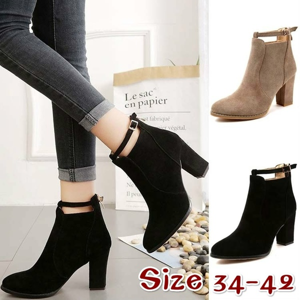 Autumn Winter Short Boots Women Shoes Suede Thick Heel Ankle Boots .
