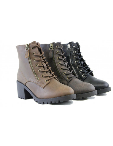 Women Combat Ankle Boots Mid Block Heel Lace Up Cool Desi