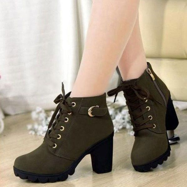 Women Girl High Top Heel Ankle Boots Winter Pumps Lace Up Buckle .