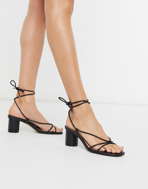 Steve Madden Ivanna strappy ankle tie heeled sandals in black | AS