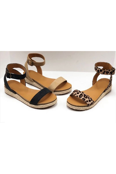 Animal Print Espadrille Flat Sandals with Ankle Strap-Leopard .