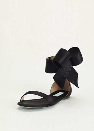 Blue by Betsey Johnson Ankle Bow Flat Sandal | David's Bridal .