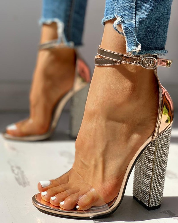 Diamante Trim Ankle Strap Chunky Heeled Sandals Online. Discover .