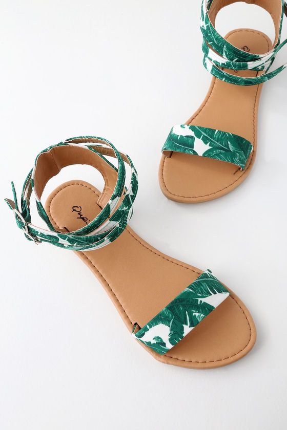 Seaview Green and White Tropical Print Ankle Strap Flat Sandals .